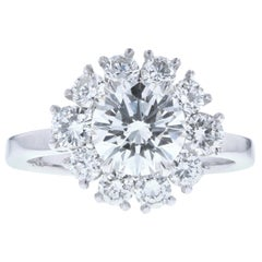 Flower Halo Diamond Engagement Ring 'Round Center'