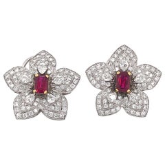 Flower Inspired Emerald Cut Burmese Ruby 2.29 Carat Platinum Earrings