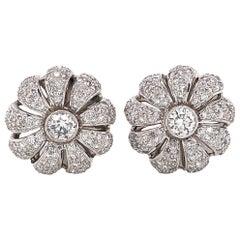 Flower Inspired Round Diamonds 2.75 Carat Platinum Earrings