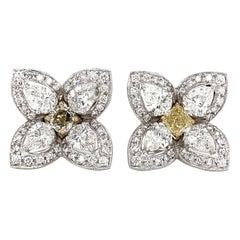 Flower Inspired Square Cut Fancy Yellow Diamond 1.35 Carat Platinum Earrings