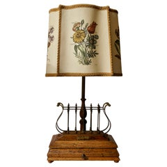 Flower Lamp in Wood and Brass