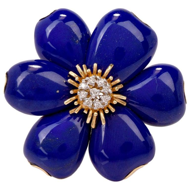 3e6af930a34 Flower Lapis Lazuli Diamond 18 Karat Yellow Gold Pin Brooch at 1stdibs