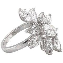 Flower Marquise Pear Cut Diamonds 3.71 Carat Platinum Fashion Ring