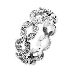 Flower Motif Diamond Eternity Band in White Gold