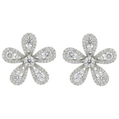 Flower Motif Diamond Stud Earrings