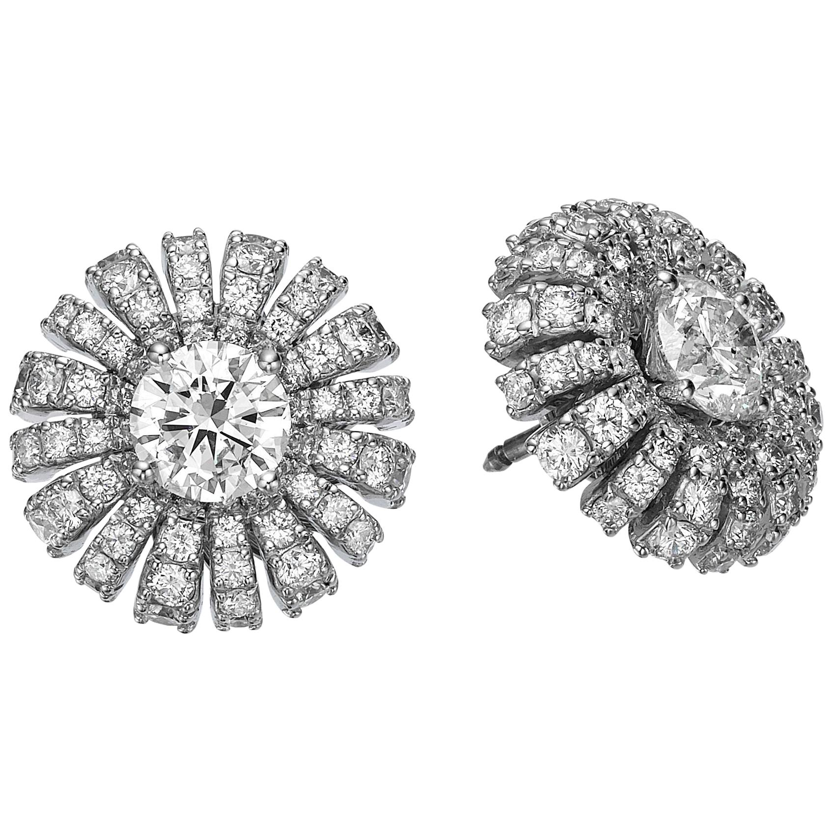 EGL Certified Interchangeable Diamond Floral Earring set -Sapphires & Emeralds