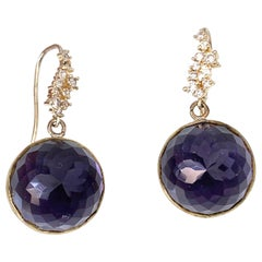 Flower pattern facet round amethyst vermeil hook earrings