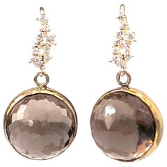 Flower pattern facet round smoky quartz vermeil hook earrings