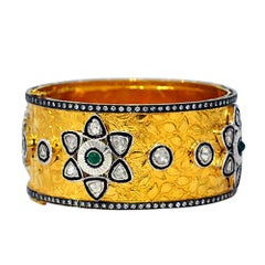 Flower Patterned Gold 18 Karat Yellow Gold Bangle with Diamonds and Emeralds