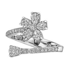 Flower & Pear-Shaped Diamond Bypass Ring