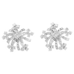 Flower Platinum with Diamonds Earrings