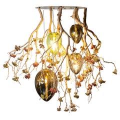Flower Power Manzanita + Crystal Egg Lamps Chandelier, Italy