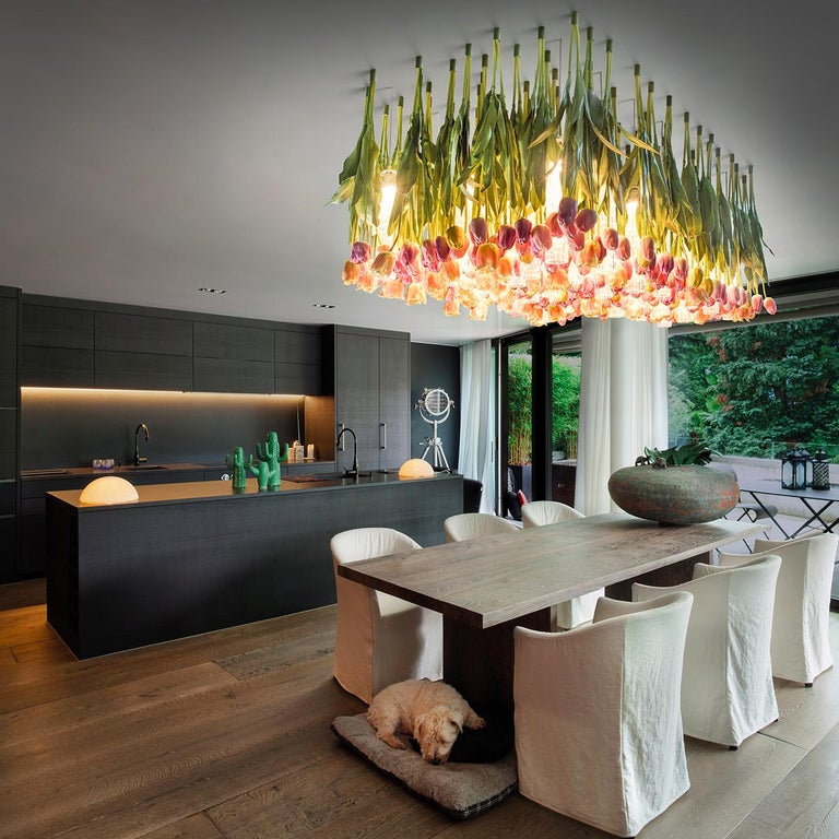 Contemporary Flower Power Tulip Chandelier For Sale