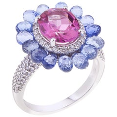 Flower Ring White Gold with Oval Pink Topaz, Blue Sapphires, Diamonds