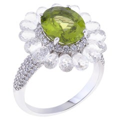 Flower Ring White Gold with Unique White Sapphires, Oval Peridot, Diamonds
