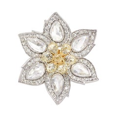 Flower Rose Cut Diamond and 4.01 Carat Fancy Yellow Briolette Ring