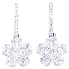 Flower Round Illusion Diamond Dangle Earring in 18 Karat White Gold