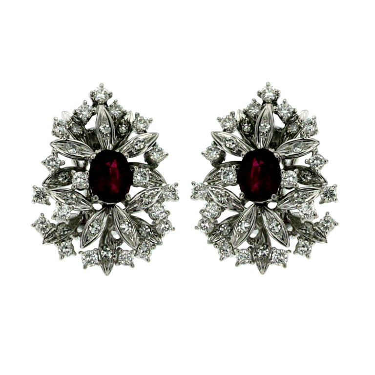 Flower Ruby and Diamond Cluster Earrings For Sale