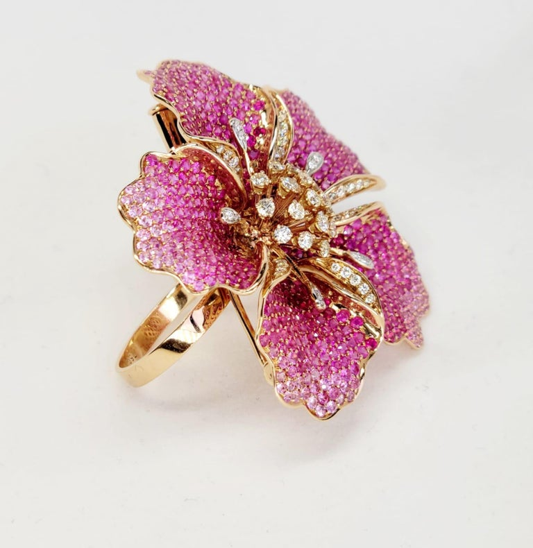 Flower Ruby and Sapphires Cocktail Ring Brooch Pendant, Three in One, Unique For Sale 4