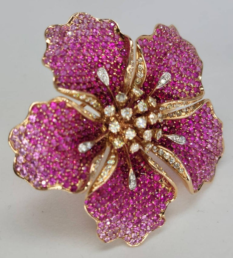Flower Ruby and Sapphires Cocktail Ring Brooch Pendant, Three in One, Unique For Sale 5