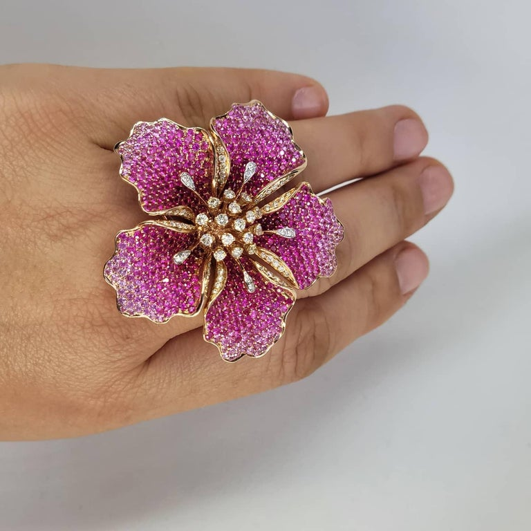Modern Flower Ruby and Sapphires Cocktail Ring Brooch Pendant, Three in One, Unique For Sale