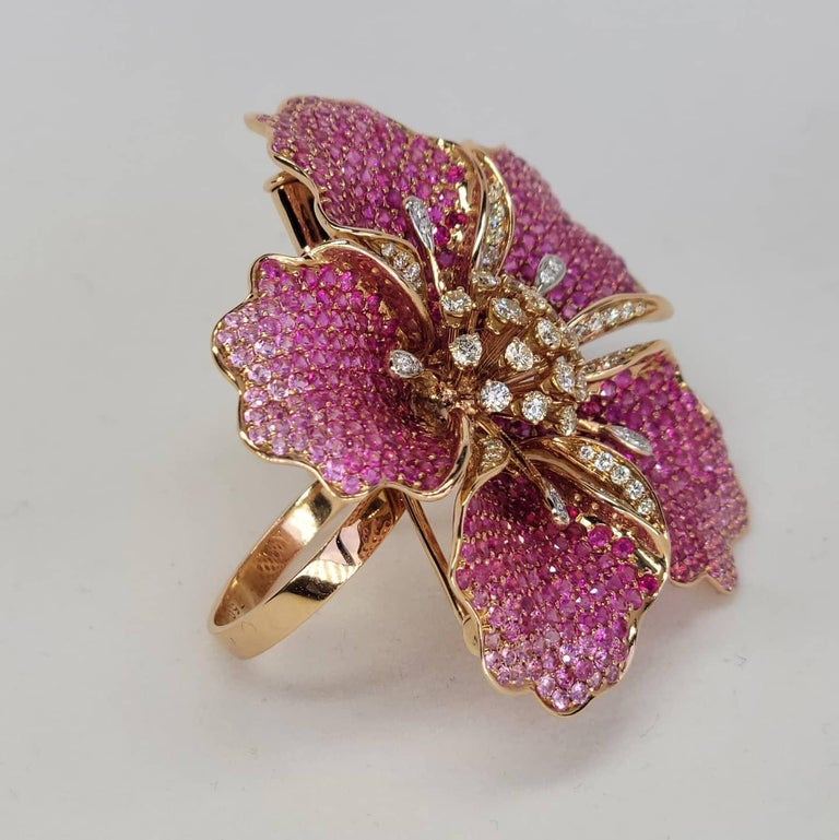 Round Cut Flower Ruby and Sapphires Cocktail Ring Brooch Pendant, Three in One, Unique For Sale