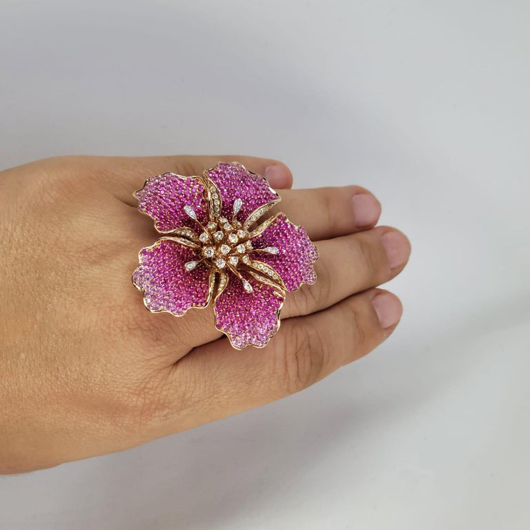 Women's Flower Ruby and Sapphires Cocktail Ring Brooch Pendant, Three in One, Unique For Sale