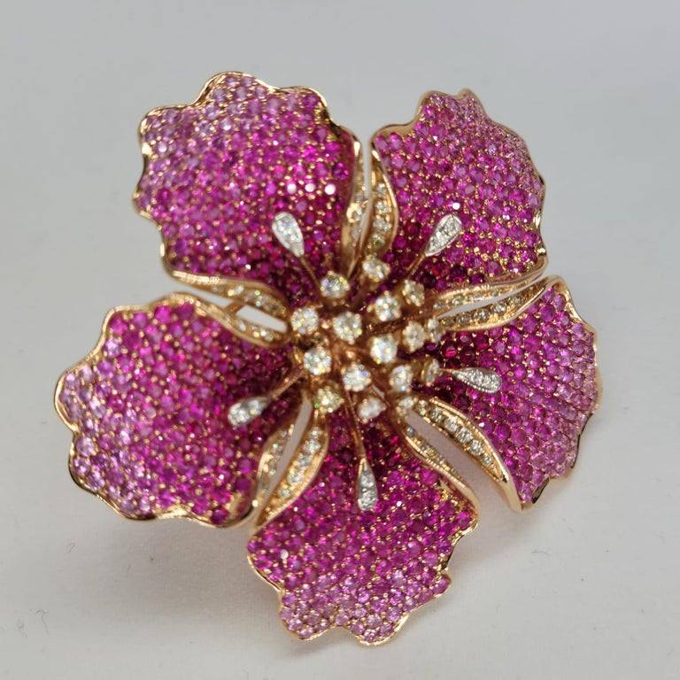 Flower Ruby and Sapphires Cocktail Ring Brooch Pendant, Three in One, Unique For Sale 1