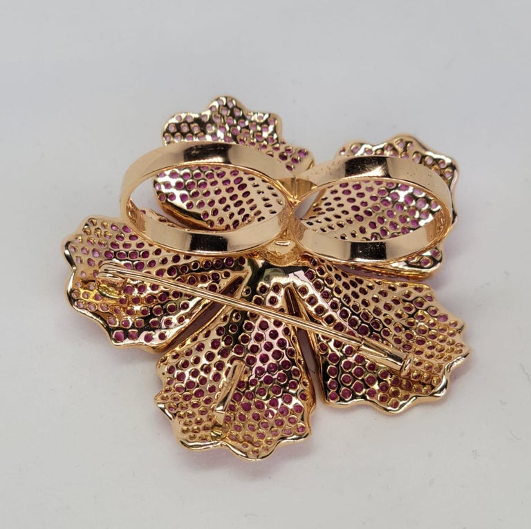 Flower Ruby and Sapphires Cocktail Ring Brooch Pendant, Three in One, Unique For Sale 2