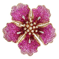 Flower Ruby and Sapphires Cocktail Ring Brooch Pendant, Three in One, Unique