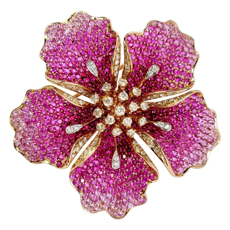 Flower Ruby and Sapphires Cocktail Ring Brooch Pendant, Three in One, Unique For Sale