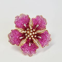 FLOWER RUBY AND SAPPHIRES Cocktail Ring Brooch Pendant - three in one. Unique.