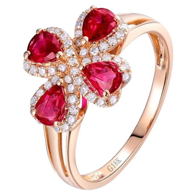 Flower Ruby Diamond Ring 18 Karat Rose Gold
