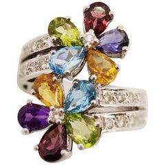 Multi Flower Multi Gemstones 18 Karat White Gold Ring