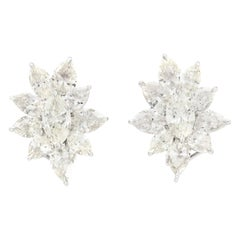 Flower Shape Diamond Clip-On Earrings