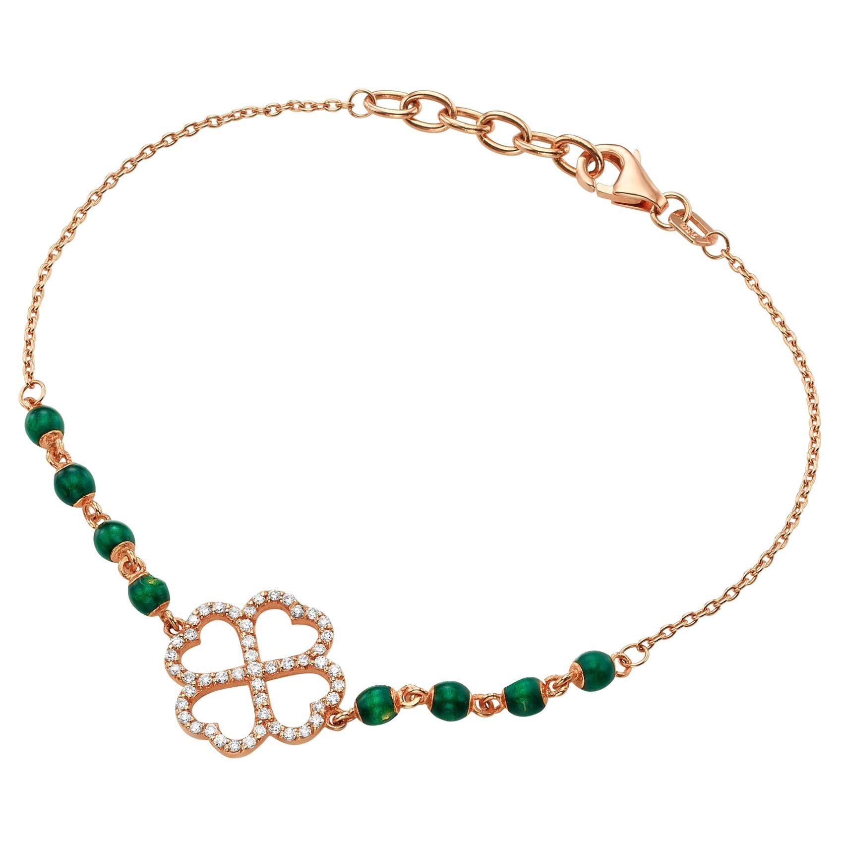 Flower Shaped Diamond Beaded Charm Bracelet 0.18 Carat 18K Gold Diamond Bracelet