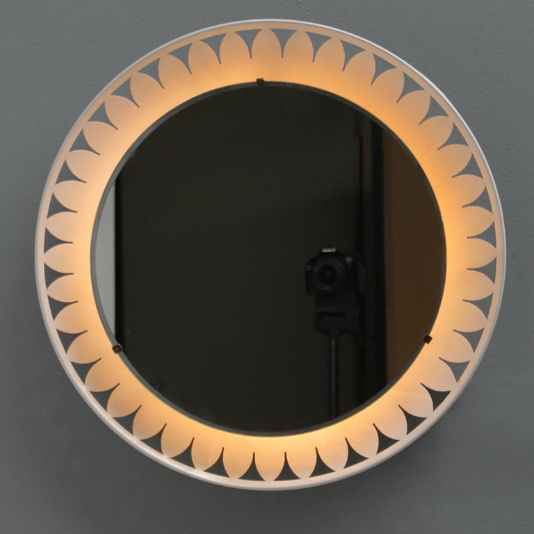 Mid-Century Modern Flower-Shaped Illuminated Mirror by Ernest Igl for Hillebrand For Sale