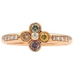 Flower Shaped Multicolored Diamond Ring in 18 Karat Rose Gold