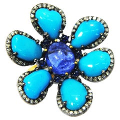 Flower-Shaped Ring with Turquoise Diamonds