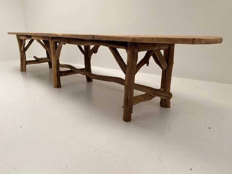 Pine Flower Shop Table from South of France For Sale