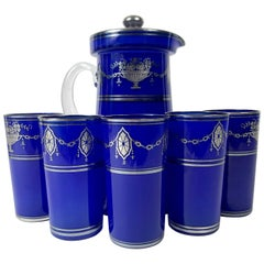Flower Silver Overlay Colbalt Blue Lemonade Set Pitcher and Five Glasses
