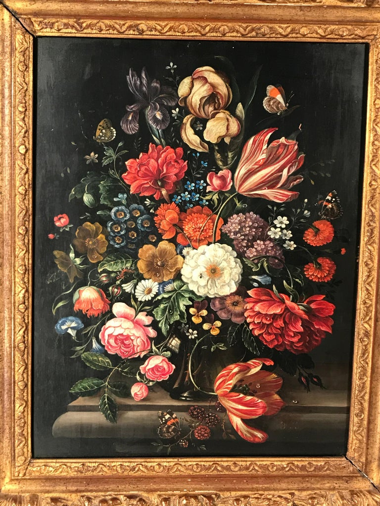 Flower still life, oil painting on copper, Belgium second half of the 19th century. Beautiful painting with a nicely carved giltwood frame. Not signed. The painting ships from Germany and includes shipping to Boston.