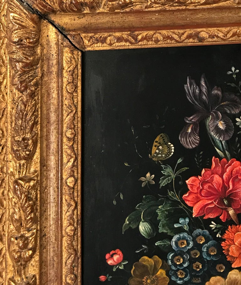 Baroque Flower Still Life, Oil Painting, Belgium, Mid-19th Century For Sale
