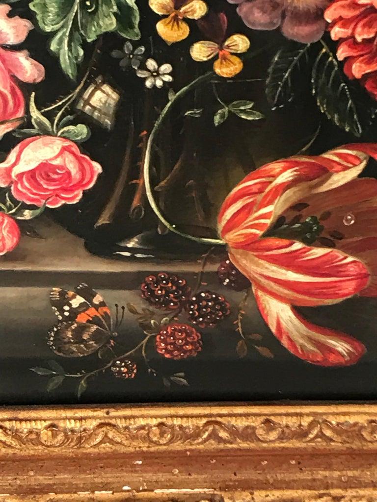 Belgian Flower Still Life, Oil Painting, Belgium, Mid-19th Century For Sale