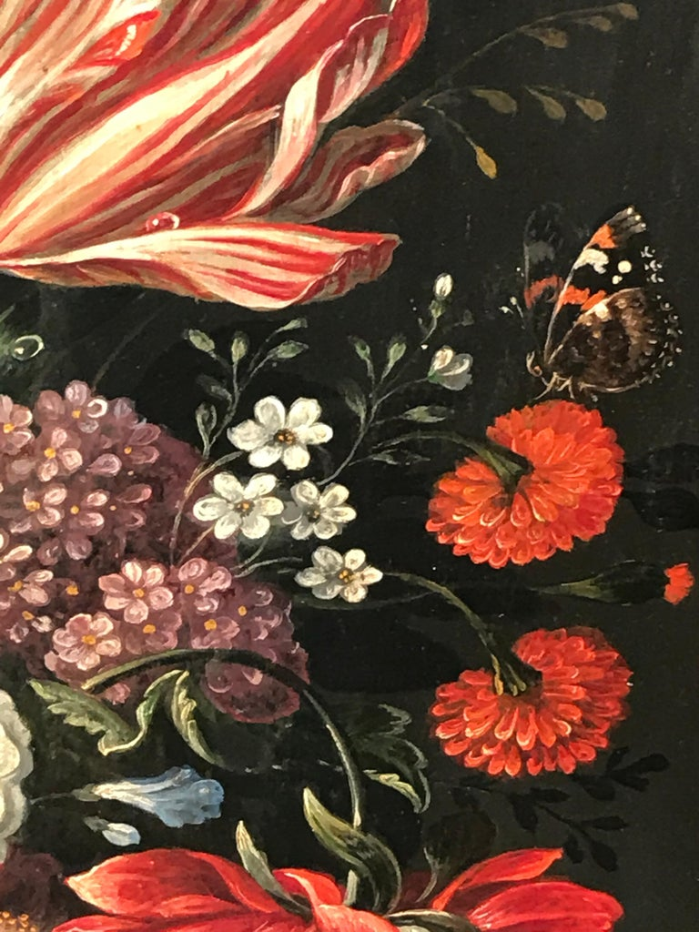 Oiled Flower Still Life, Oil Painting, Belgium, Mid-19th Century For Sale