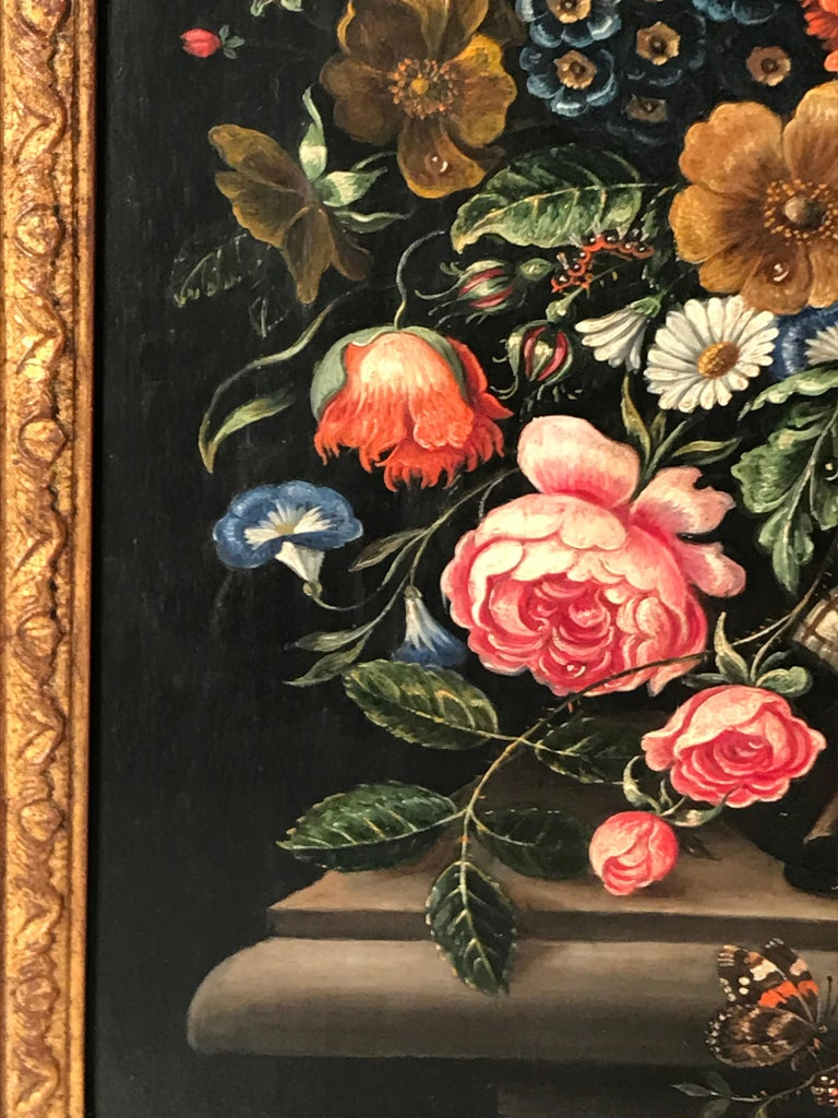Flower Still Life, Oil Painting, Belgium, Mid-19th Century In Good Condition For Sale In Belmont, MA
