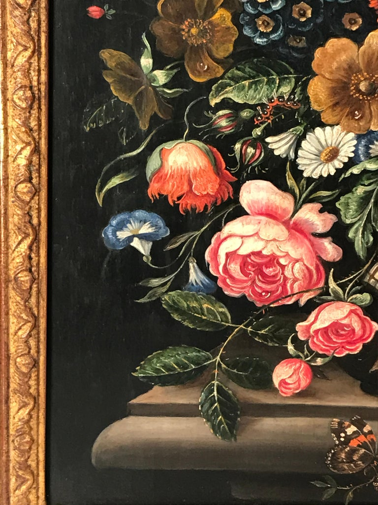 Copper Flower Still Life, Oil Painting, Belgium, Mid-19th Century For Sale