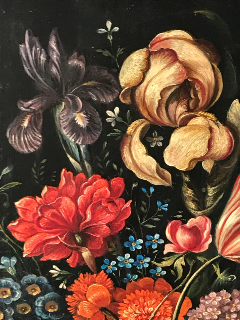 Flower Still Life, Oil Painting, Belgium, Mid-19th Century For Sale 1