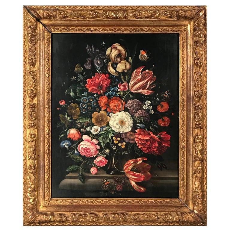 Flower Still Life, Oil Painting, Belgium, Mid-19th Century For Sale