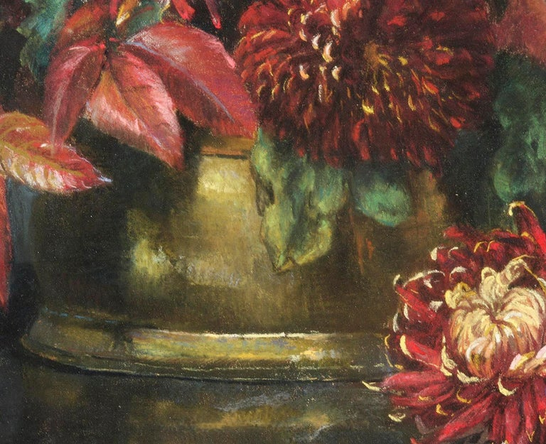 Flower Still Life, Pastel on Paper by Berthe Art Early 20th Century For Sale 6